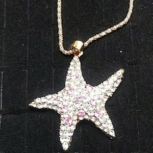 Jeweled Gold Statfish Necklace
